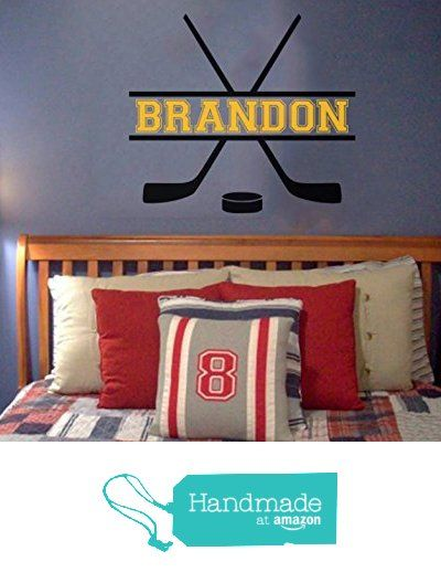 "Custom Name added to Hockey Vinyl Wall Decal - Hockey theme - Personalized Removable sticker perfect for above bed - Sports room 25"" wide x 22"" tall from Word Factory Design https://www.amazon.com/dp/B01EMZ1NQ8/ref=hnd_sw_r_pi_dp_EMyFxb013PS04 #handmadeatamazon"