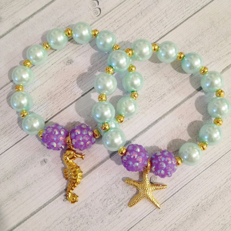 8 - Ariel Little Mermaid Under the Sea Charm Bracelet Birthday or Slumber Party…