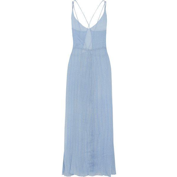 Cloe Cassandro Bailey polka-dot silk-chiffon maxi dress ($365) ❤ liked on Polyvore featuring dresses, light blue, blue maxi dress, blue polka dot dress, maxi dress, sheer dress and beachy dresses