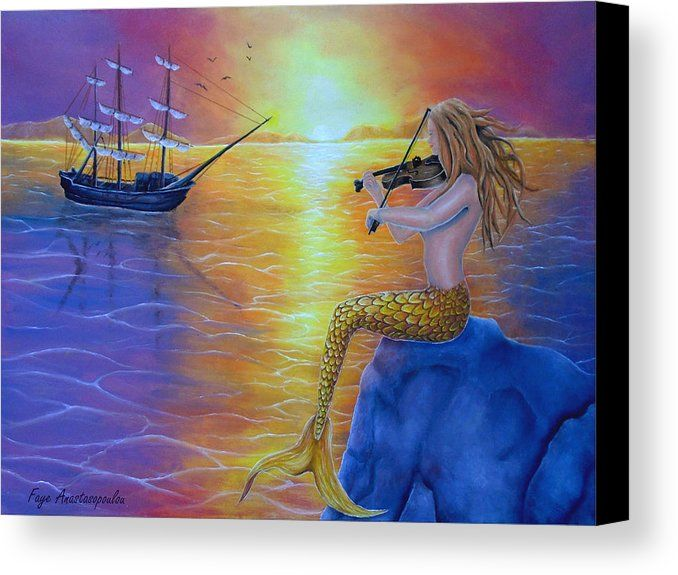 Canvas Print, Painting, mermaid,ocean,scene,sunset,sunrise,seascape,dreamscape,ship,sailboat,nautical,marine,water,merpeople,sailing,sitting,rock,violin,fiddle,player,wooden,fiddler,performance,mythical,mythological,legendary,feminine,pose,nude,female,girl,woman,siren,tail,fin,fantasy,whimsical,imagination,picturesque,sky,colorful,purple,summer,beautiful,figurative,cool,on,in,the,fine,oil,images,artwork,home,office,wall,decor,fine art america,enchanting performance