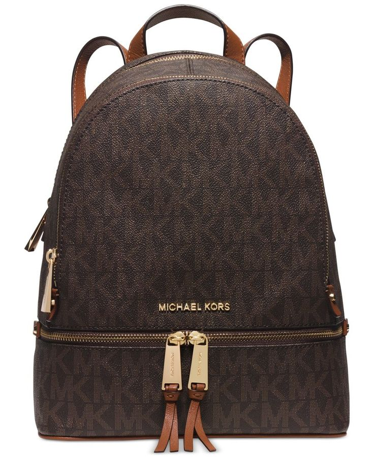 Tuck your tablet, notebook and other travel essentials into this chicly organized backpack from Michael Michael Kors, finished in signature Pvc for a splash of must-have designer style. | MK Signature