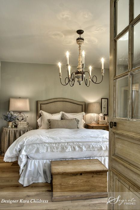 Western Inspired Room Love The Headboard With Old Doors: Antique Lighting & Fabric Cover Side Table Linen