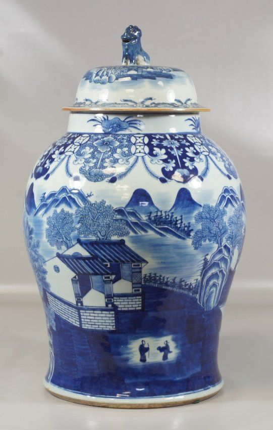 Chinese Blue and White Porcelain Temple Jar