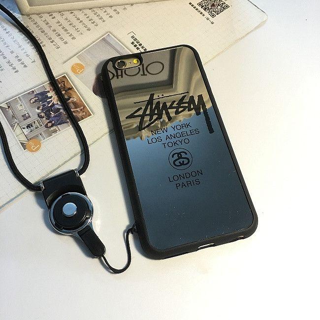 iPhone SE ケース ブランドiphone7/6sサインstussyミラー表面鏡7 Plus/6plus携帯カバーソフトケース保護ストラップ付きおしゃれ
