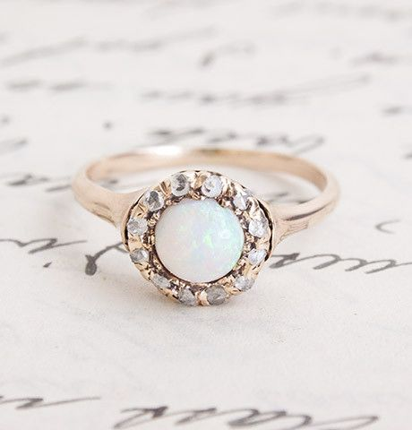 Opal and Diamond Victorian Cluster Ring, $895.00