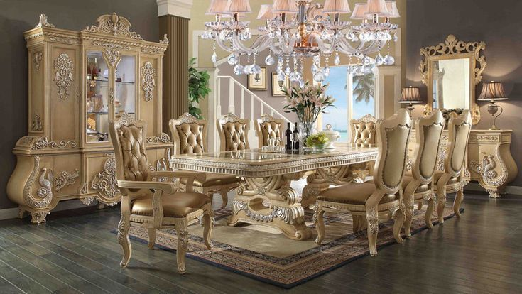 Homey Design HD-7266 French Victorian Dining Room Set for total 7 pieces #HomeyDesign #VictorianStyle