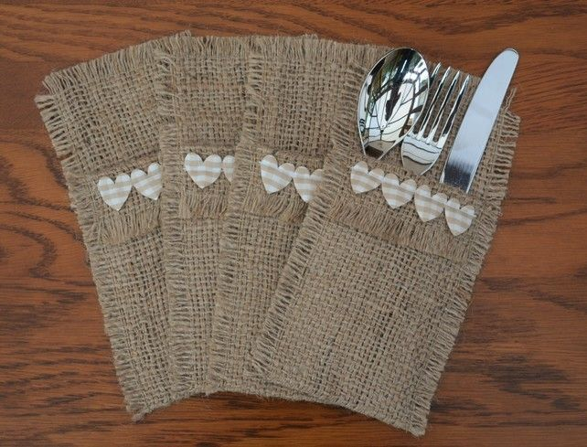 Hessian Cutlery Holders, set of 4. Heart trim and Coffee Sack Hessian  Hessian Cutlery Holders, set of 4. These cutlery holders are lovingly handcrafted using hessian from reclaimed coffee sacks. The perfect eco-chic accessory for your dining table. These would make a great dinner party talking point, this hessian started life carrying coffee beans!