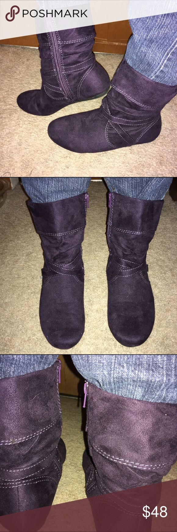 EUC Purple Suede Jester Cowboy Boots ZipUp Size 10 Lower East Side Deep Purple Suede Side Zip Up Ankle Boots. Cannot decide if these are Jester or Cowboy Cowgirl Western style. Wore them ONE TIME only to work for Mardi Gras / Fat Tuesday and they have been in the closet since. I have too much arthritis to enjoy them. My loss is your gain. Roomy Size 10. No trades or comment negotiations. I wish I had better feet. I love ❤️ these. Lower East Side Shoes Ankle Boots & Booties