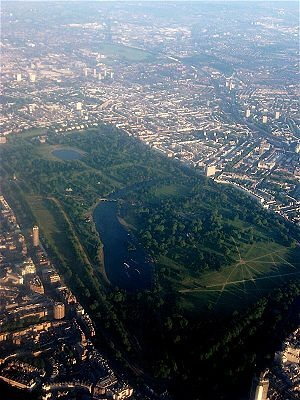 London, Hyde Park (in the foreground) and Kensington Gardens. Just walked the entire length and back last month,