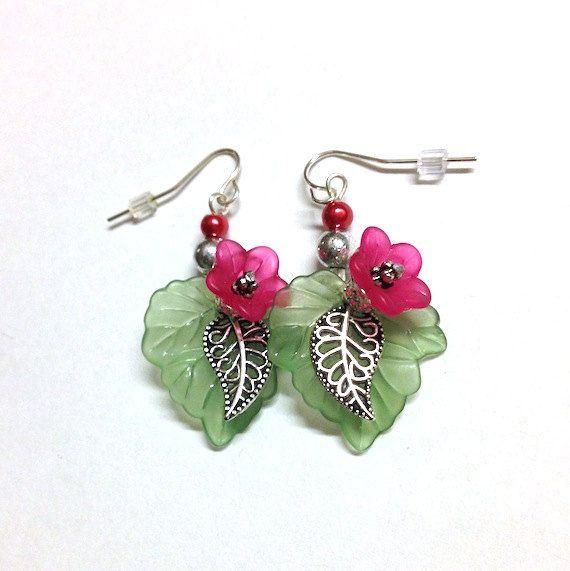 Red lucite flower  earrings - retro, green leaf, tulips, pierced, dangle earrings, silver earrings, retro, hip, cute, beach,island