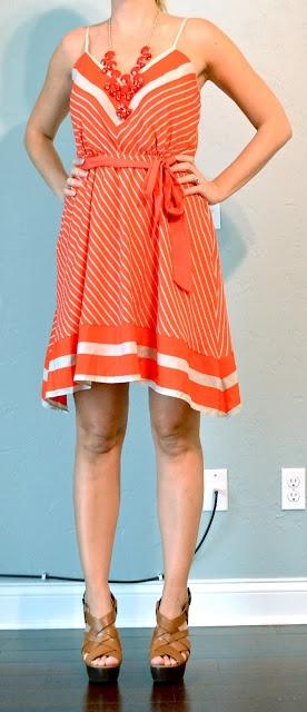 outfit posts: orange chevron dress, espadrilles
