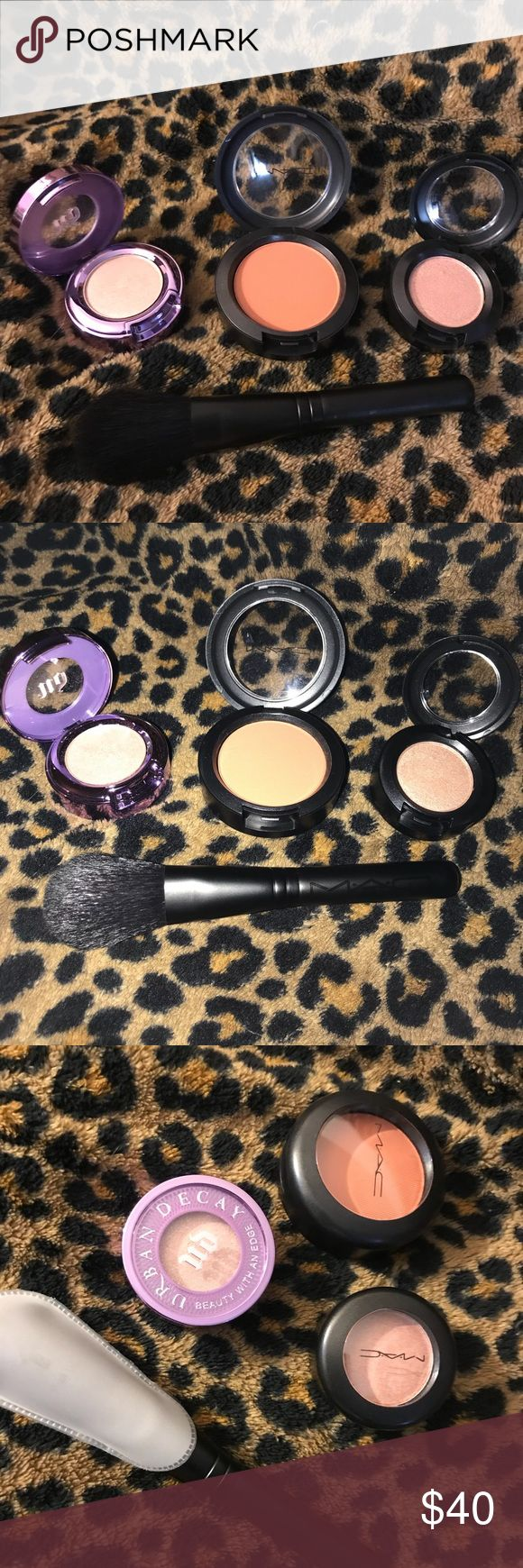 Never used before Mac and Urban Decay Bundle Urban Decay eyeshadow - Midnight Cowboy Mac (Veluxe Pearl) eyeshadow-All that Glitters Mac (Matte) blush- copper tone Mac travel size blush brush MAC Cosmetics Makeup Eyeshadow