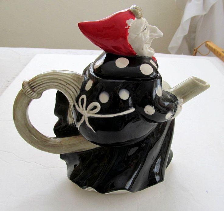 1979 Fitz & Floyd WITCH Vintage Ceramic Teapot Broom Apron Headscarf                                                                                                                                                      More