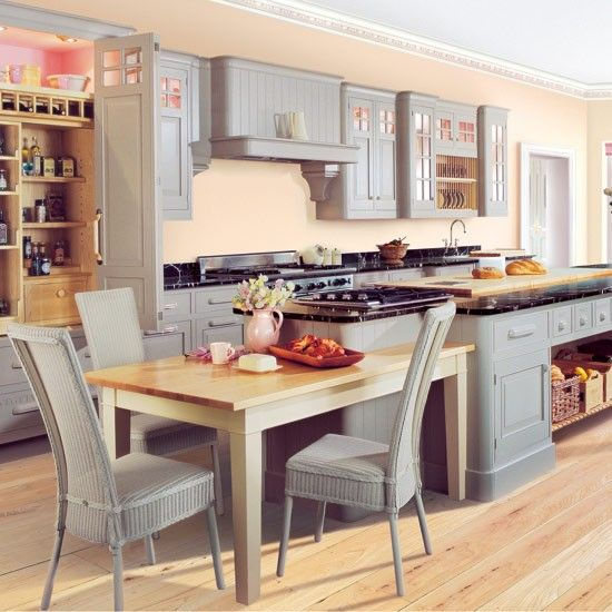 1) kitchen-diner. loving that built in table here!   2) larder cupboard on the left side. Ideal for no/small pantry.