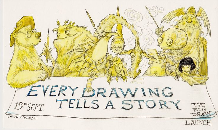 Big Draw Launch...  by Chris Riddell, via artist's Facebook page