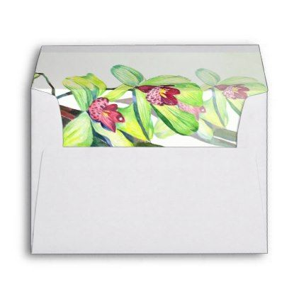 #Green Orchid Floral Envelope - #Wedding #Printed & #Mailing #Envelopes #weddinginvitations #wedding #invitations #party #card #cards #invitation