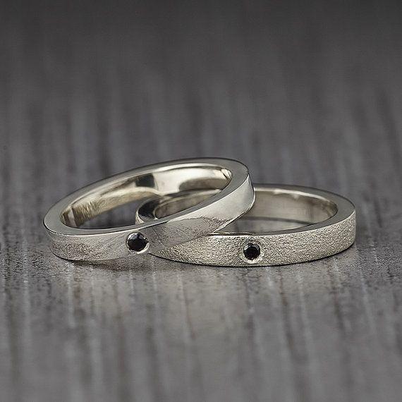 Gemstone ring - Jewelry - Ring - Black gemstone Ring - Simple Wedding Band - Cubic zirconia - Flush set gemstone