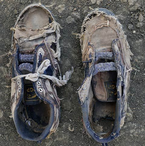 Excellent project by Shannon Jensen who photographed the remains of Sudanese refugees' worn  tattered shoes (via Feature Shoot)
