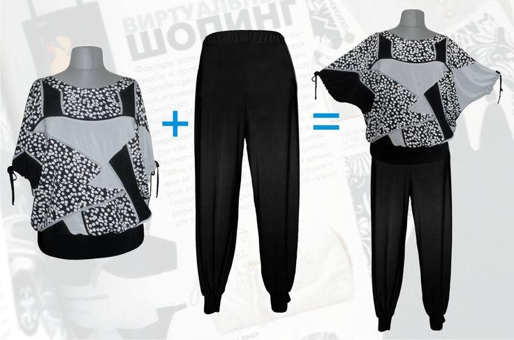 62$ Летний брючный костюм для полных женщин в мелкий цветочек: блузка свободного покроя чёрные + брюки алладинки Артикул 677, р50-64