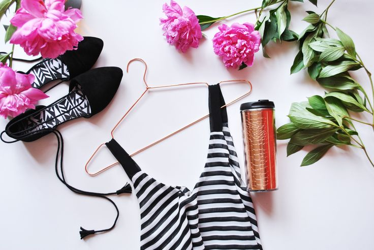 Flat lay, Stripes, fachion, rosegold, peonies, black, primark