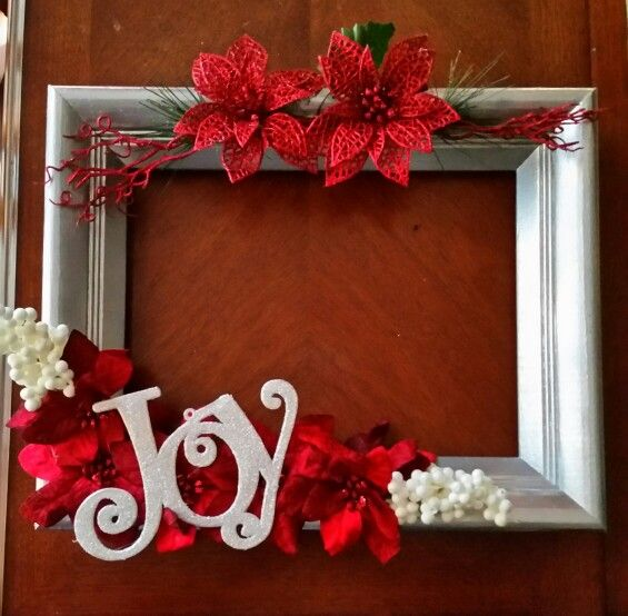 "Christmas ""wreath"" made from an old painted picture frame!"