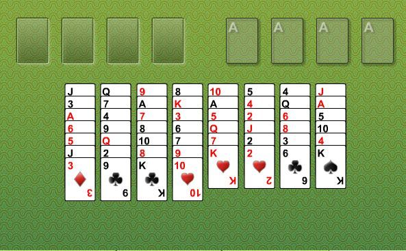 Freecell is based on the classic Freecell solitaire, but with a special twist! Use the golden cards to your advantage, either to bring forward an obscured card or boost your score!
