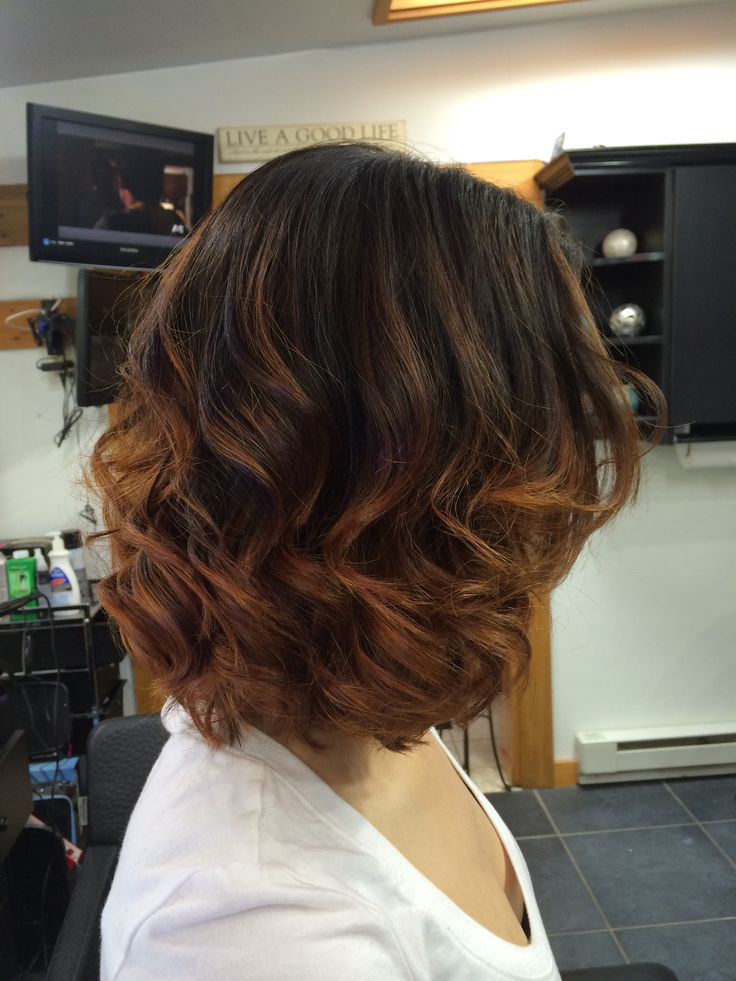 Golden Copper Ombre On Short Hair Short Hair Styles