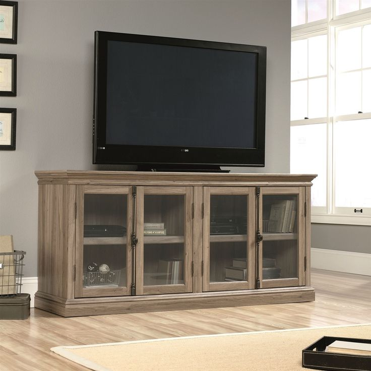 Salt Oak Wood Finish TV Stand With Tempered Glass Doors   Fits Up To 80
