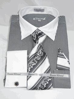 Daniel Ellissa Ds3775 Black Men's French Cuff Dress Shirt Bold Pin Stripe Pattern with White Collar and White French Cuff Shirt (60% Cotton 40% Poly) with matching cuff links just $44.99 at BerganBrothersSuits.com