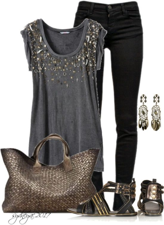Womens Fashion Metal Tones. I love this idea for a girls night out or possibly date night :)