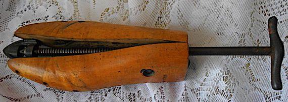 Antique 1919 Wooden Metal Shoe Stretcher with Adjustable Metal