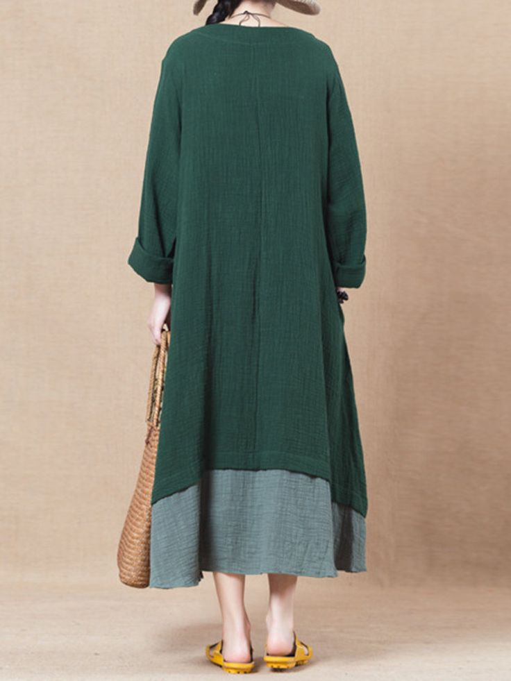 Casual Solid Two-Layer Side Split Buttons Long Sleeve O-Neck Dress