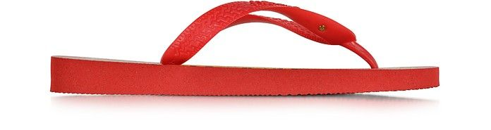 CHARLOTTE OLYMPIA Bruce Havaianas Ruby Red Rubber Flip Flop. #charlotteolympia #shoes #