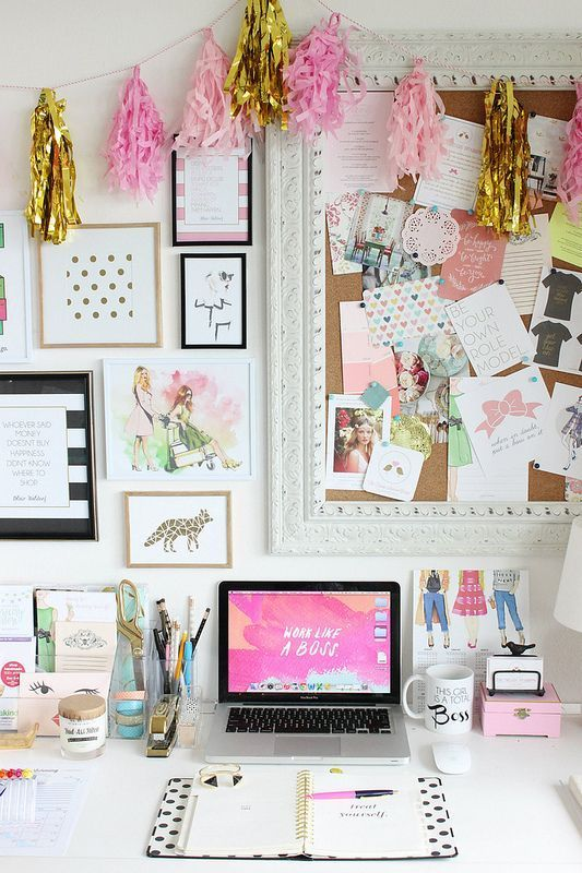 Bright and colourful home office space.