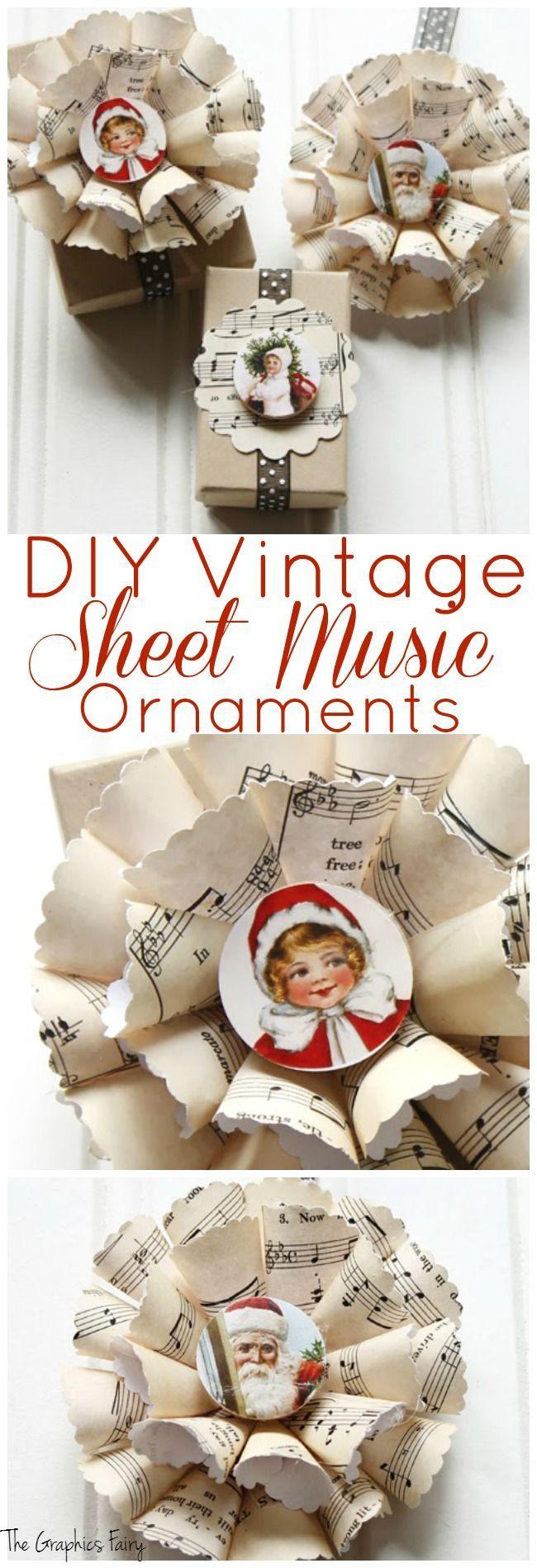 Diy retro christmas decorations - Diy Vintage Sheet Music Ornaments The Graphics Fairy