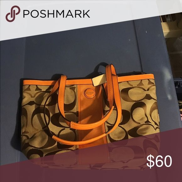 Coast purse Orange and brown. Used once. Coach Bags