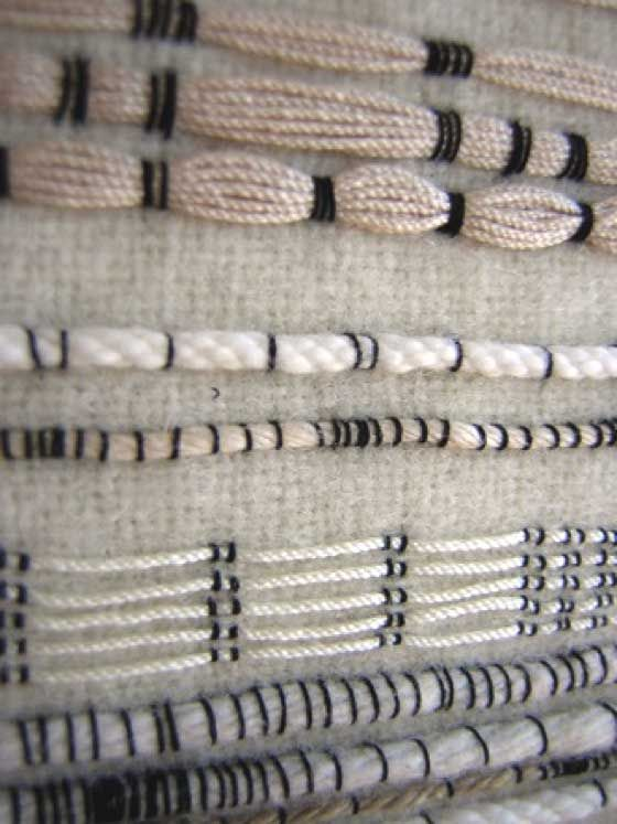 Modern embroidery stitch samples using the couching technique with contrasting stitches; textiles design