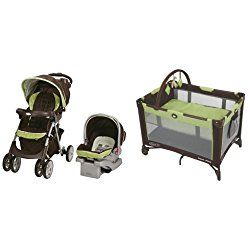 Graco Comfy Cruiser Click Connect Travel System and Pack 'n Play On The Go Playard, Go Green