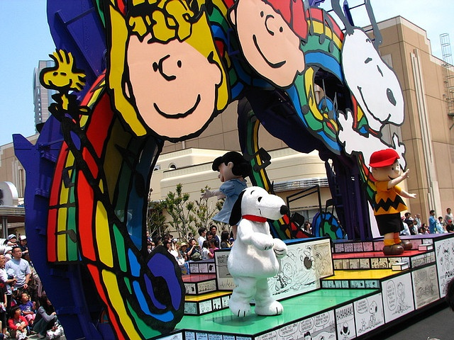 Snoopy characters as they parade through Universal Studios Japan