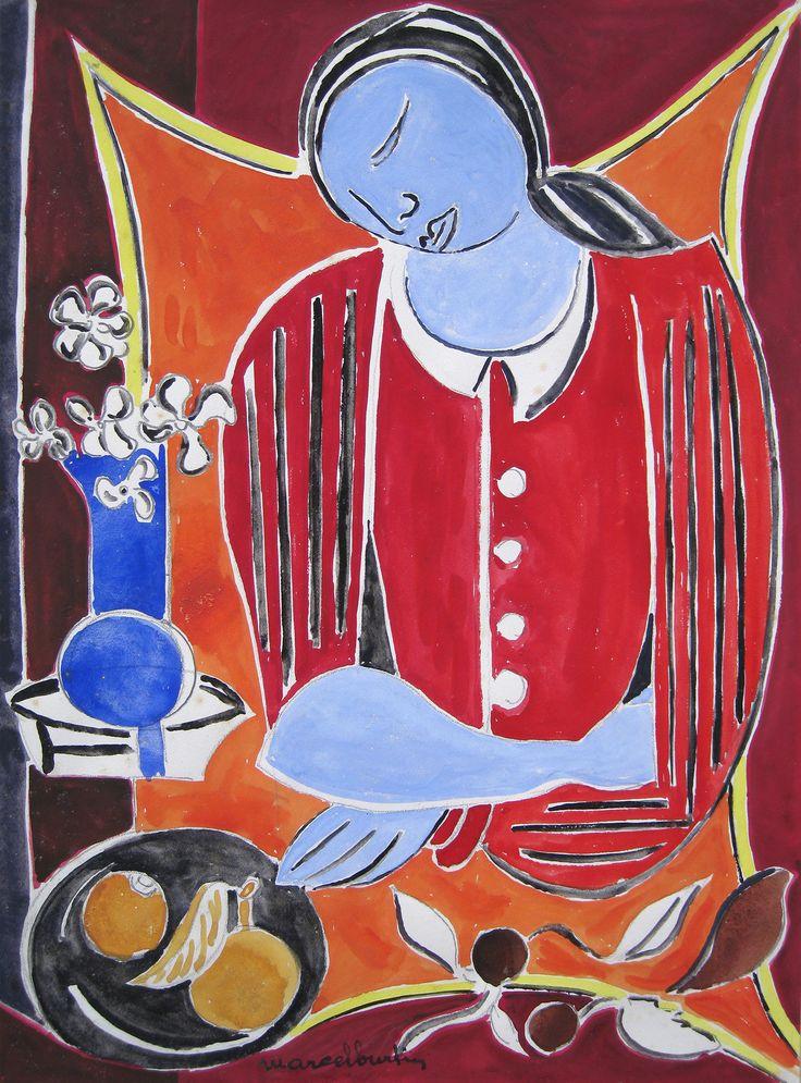 'Modele au Bouquet' by Marcel Burtin Gouache on Paper: 42 x 31 cm Signed