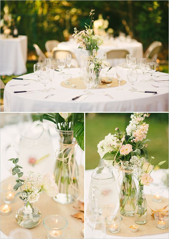 Round Tables Decorations Ideas rustic country wedding reception decorations with exposed beam ceiling and glass lanterns on round tables Wir Haben Am Tisch Trkis Und Wei Beige Holz Und Jute Hier Round Table Decor Weddinground Table Centerpiecessimple
