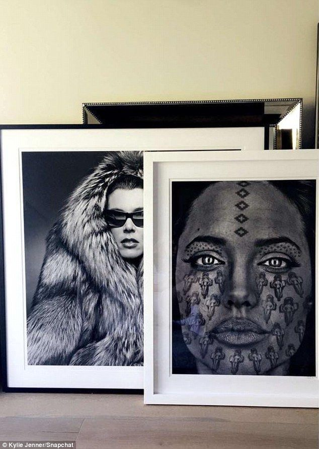 Mom and Angie: Art is important to the star, the Kylie showing off a number of pieces she is in the process of putting up including a black and white image of her mother, Kris Jenner, which she got when she first moved into the home in May