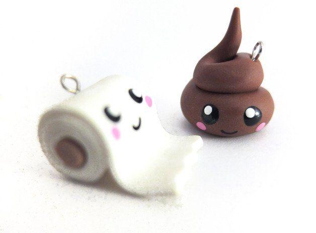 Süßer kleiner (2cm) Kackhaufen und Klorolle als Handyanhänger oder für die Halskette.  Die passenden Ohrringe gibt es...