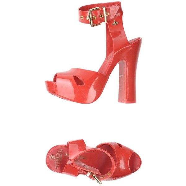 Vivienne Westwood Anglomania + Melissa Sandals ($160) ❤ liked on Polyvore featuring shoes, sandals, coral, ankle tie shoes, square heel shoes, vivienne westwood anglomania, round toe sandals and ankle wrap sandals