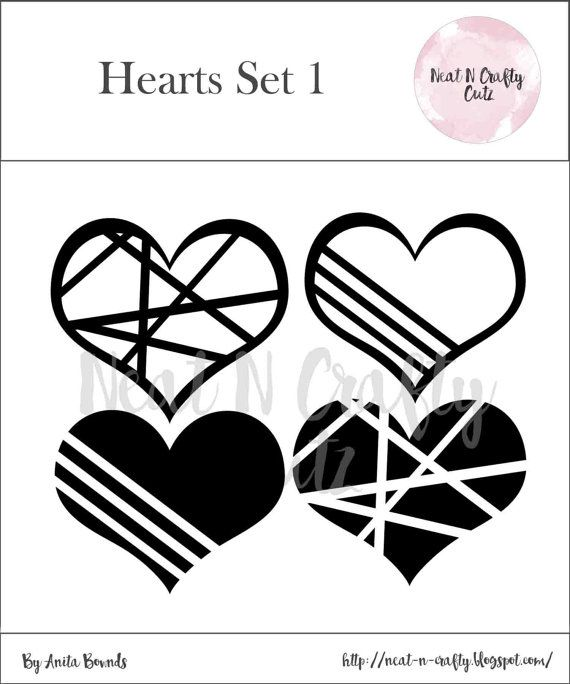 heart set 1 cut files. For scrapbooking and paper crafting