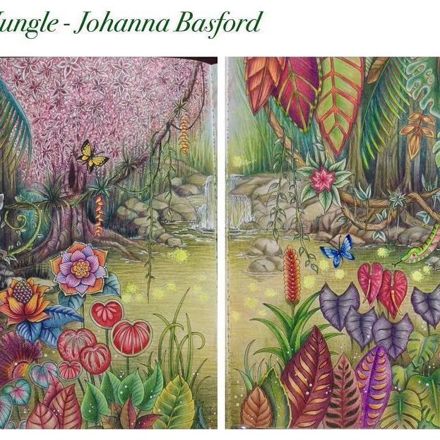 Magicaljungle Johannabasford Coloringbook Coloredpencil Holbeincolorpencil Polychromos Prismacolor Colorgelpens