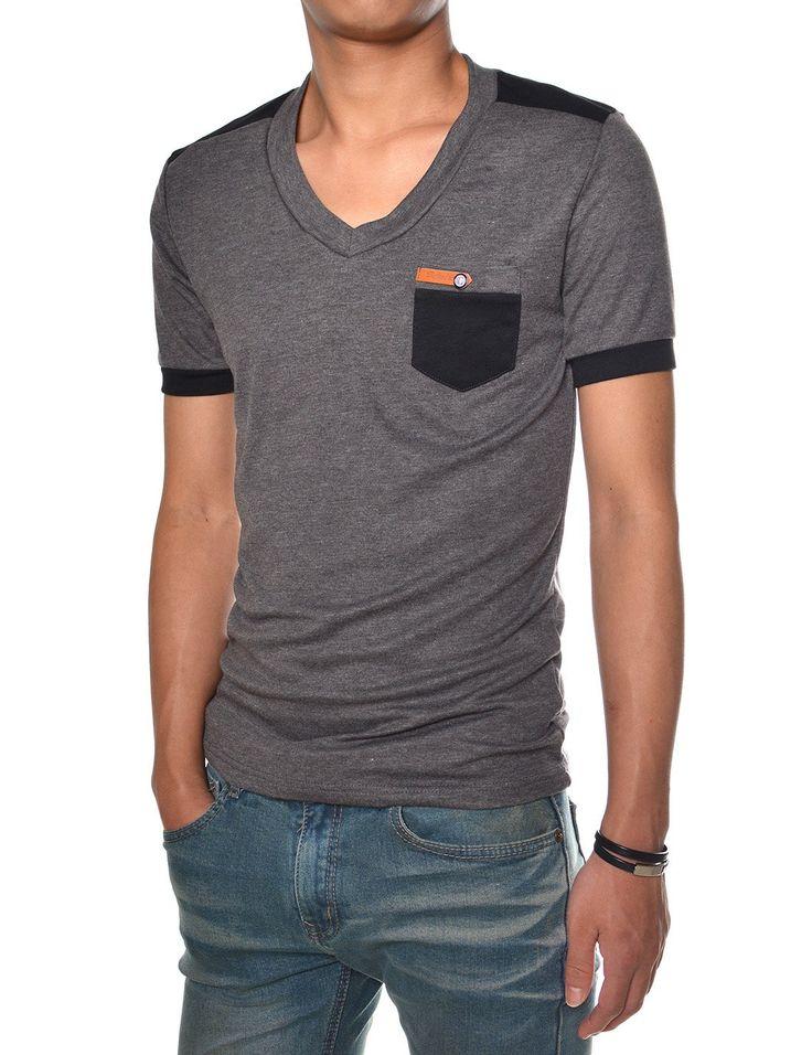 TheLees Hombres camiseta Slim Fit V-cuello de manga corta camiseta de Llano en la tienda de ropa de hombre Amazon: Moda T-shirt