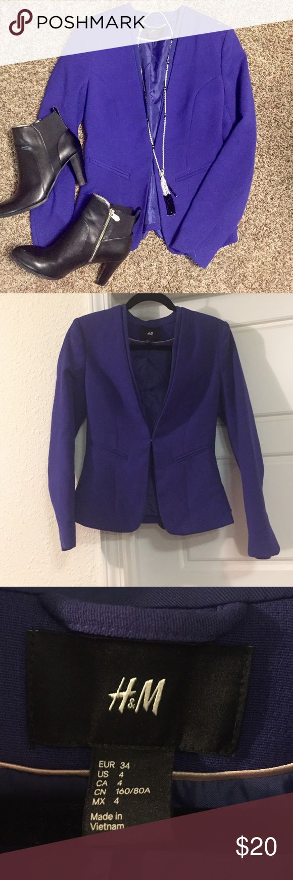 H&M Cobalt Blazer OBSESSED! This blazer is in perfect condition and looks amazing on! It is a US size 4! Please let me know if you have any questions! :) H&M Jackets & Coats Blazers