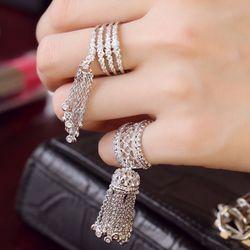 Корея покупке подлинного циркон кольцо темперамент цепи кисточкой женский ретро дворец Кольцо микро проложить совместное кольцо хвост кольцом
