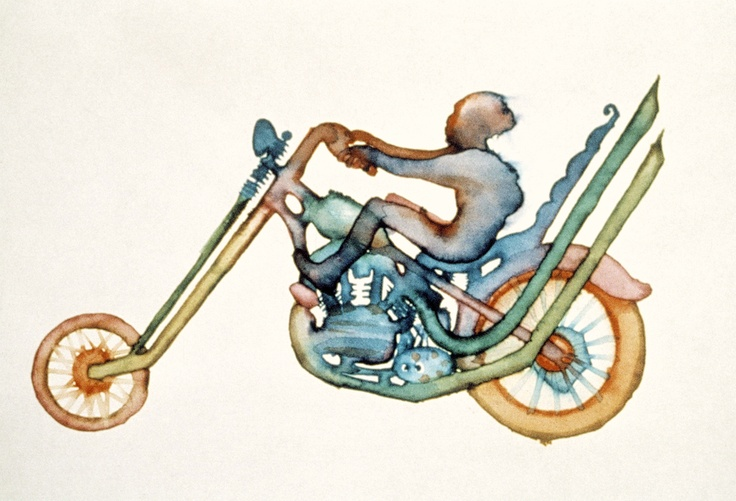 Watercolor by insane genius Ryan Larkin for his film STREET MUSIQUE, 1972.